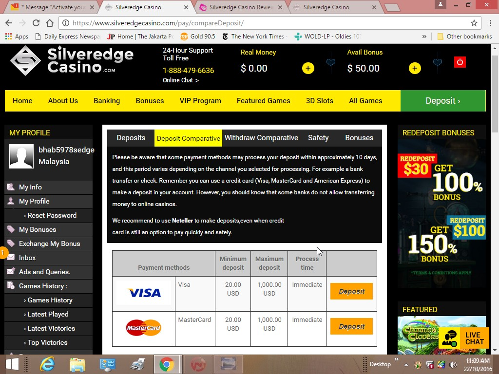 Silveredge Casino No Deposit No Deposit Casinos