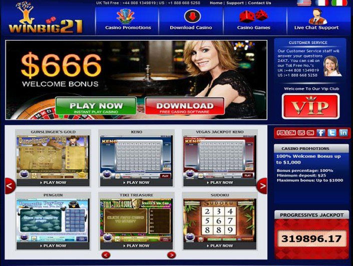 Win big 21 casino
