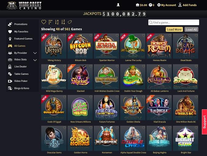 Vegas Crest Casino 20.04.2021. lobby