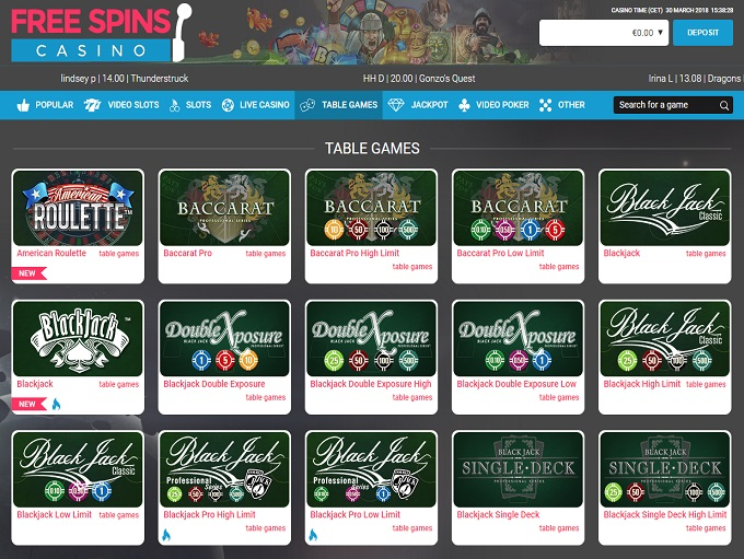 Free Spins Casino lobby
