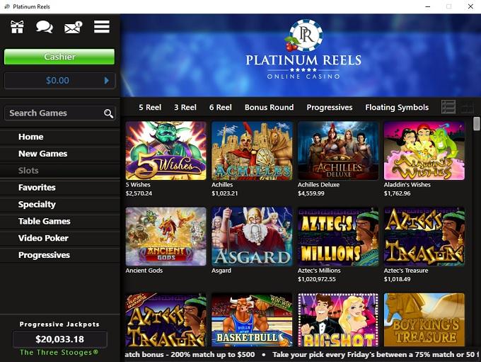 Platinum Reels Casino 19.03.2021. lobby