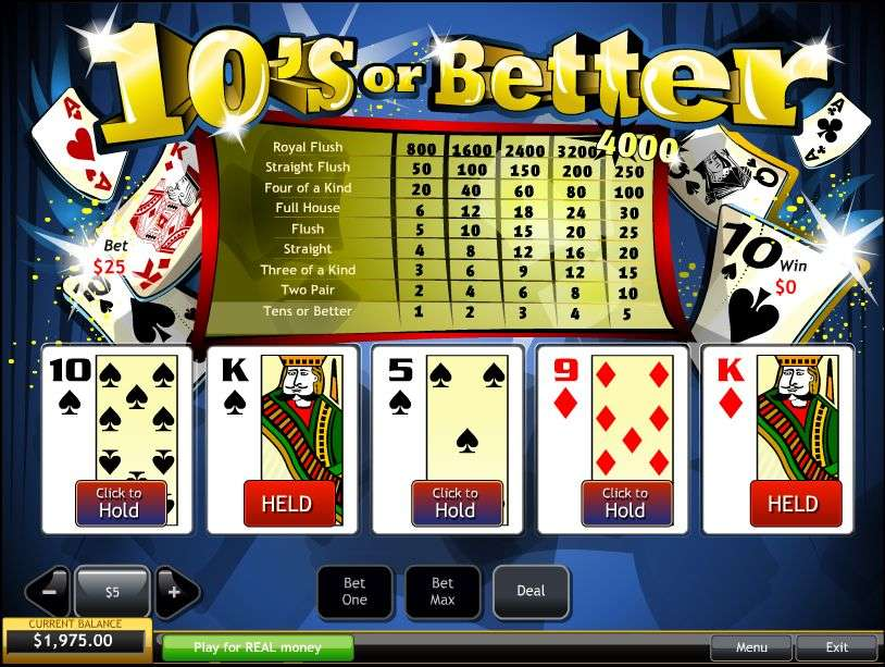Game Review 10s Or Better Video Poker