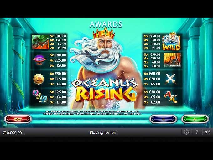 Rewards dive under the sea in oceanus rising slot play tokens list