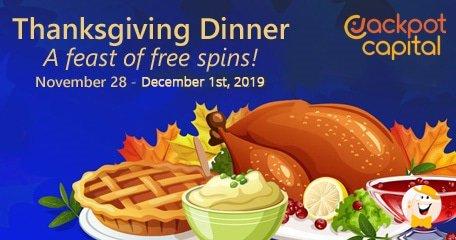 感恩节晚餐在Jackpot Capital Casino提供,有$ 1500的赠金和额外旋转